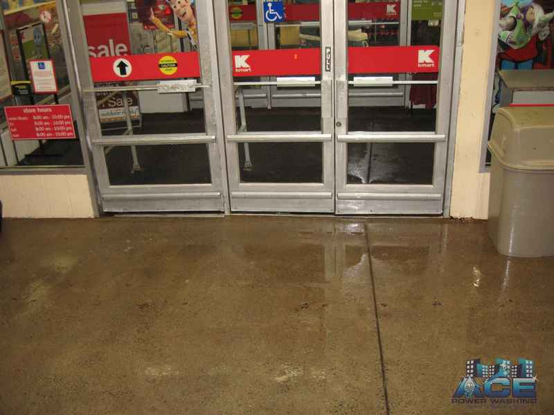 A cleaned concrete entrance which is more inviting to customers