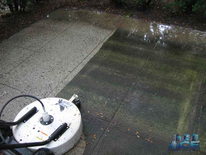 Power washing concrete patio in Alpine, NJ