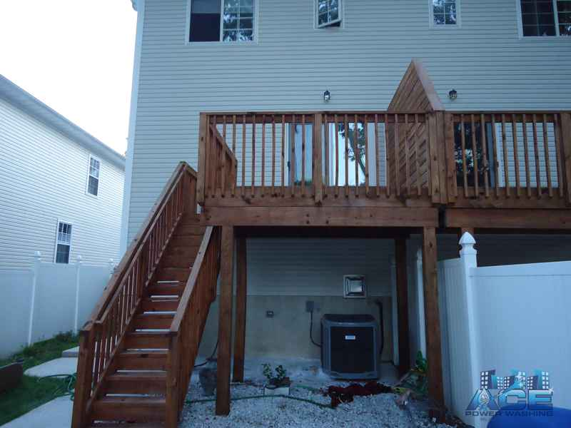 Complete Deck Staining of Cedar Deck in Hackensack, NJ