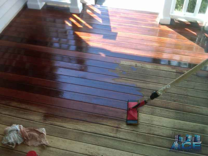 Deck Staining with oil based stain on a Mahogany Deck in Oakland, NJ
