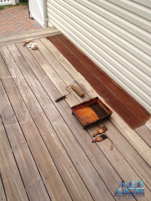 Deck Staining with oil based stain on a Ipe Deck in Upper Saddle River, NJ