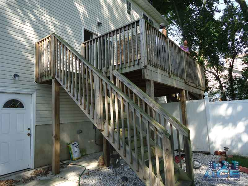 Mold Covered Cedar Deck in Hackensack, NJ