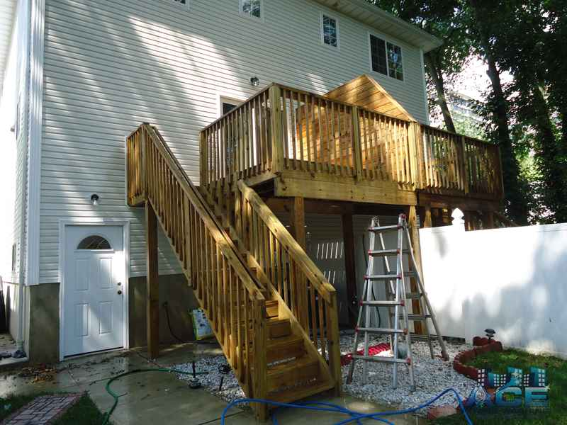 Deck Cleaning of Cedar Deck in Hackensack, NJ