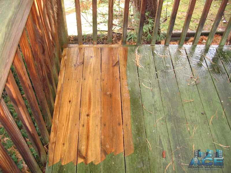 Clean contrast of Mold Covered Pressure Treated Deck in Oradell, NJ