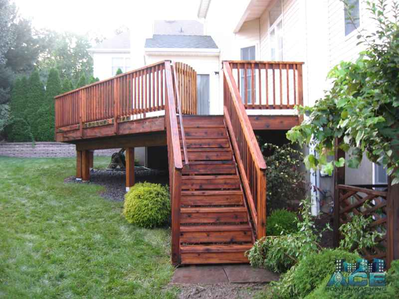 Complete Deck Staining of Cedar Deck in Hillsdale, NJ