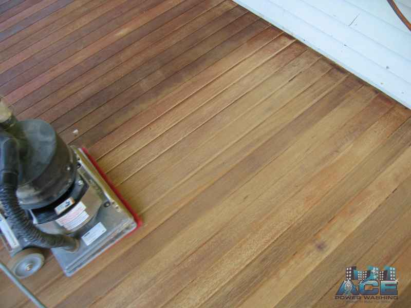 Deck Sanding of Mahogany Deck in River Vale, NJ