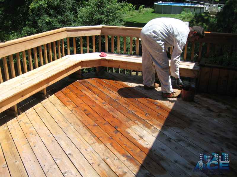 Deck Staing of Cedar Deck with Oil Based Stain in Franklin Lakes, NJ