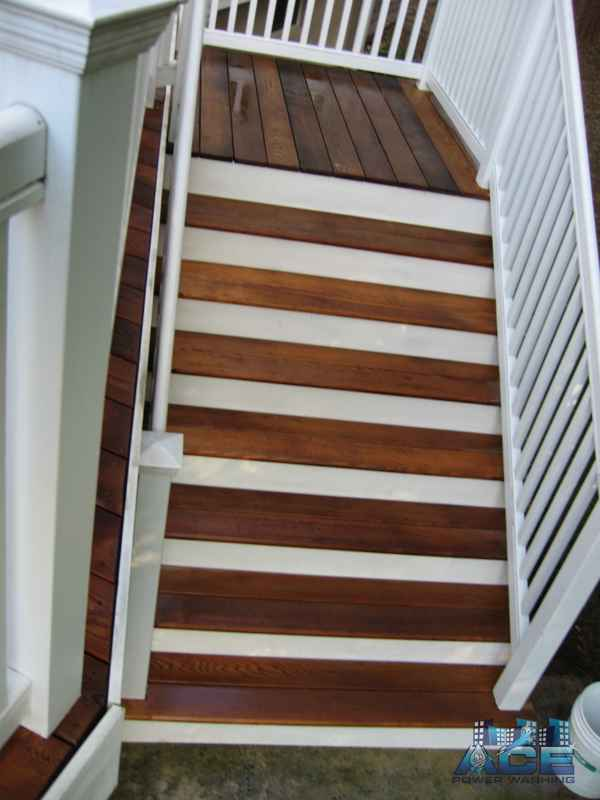 Deck Cleaning of Ipe Deck Steps in Paramus, NJ
