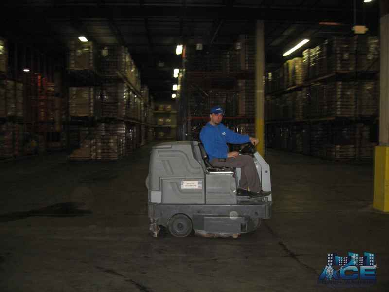Interior Warehouse Floor Cleaning using automatic floor scrubber in Paramus, NJ