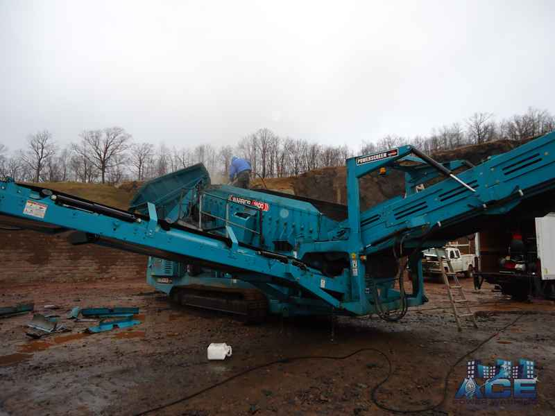 Exterior Power Washing of Commercial Heavy Equipment on site to clean Rock Crusher in Wayne, NJ