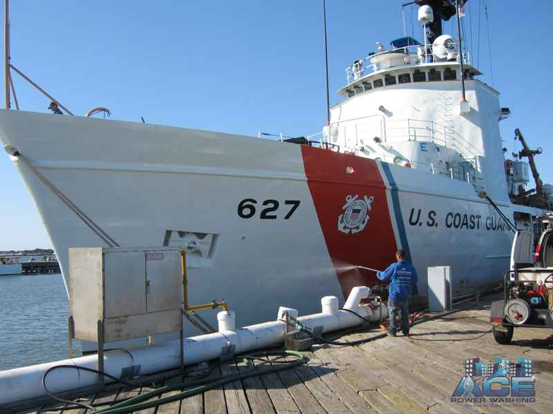 Exterior Cleaning of U.S. Coast Guard Ship in Toms River, NJ