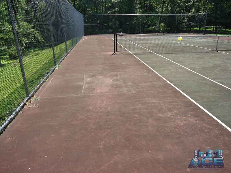 Tennis Court Cleaning using Power Washing Services in Ridgewood, Bergen County, NJ