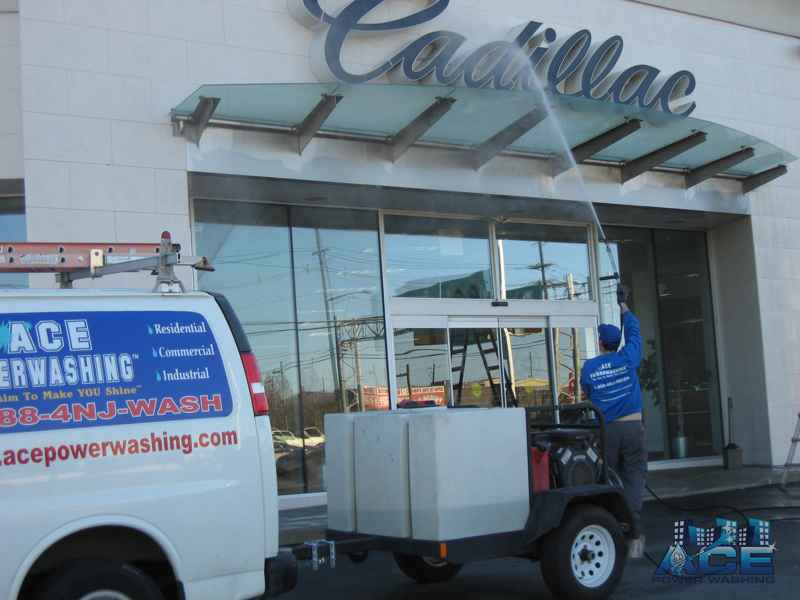 Exterior Cleaning of Car Dealership using Power Washing Services in Wayne, NJ