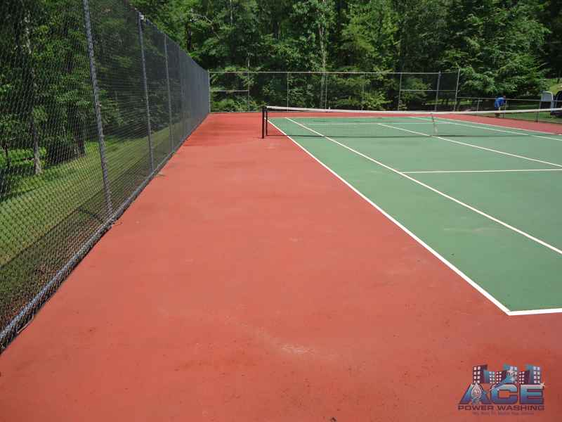 Tennis Court Cleaning using Low Pressure/Eco-Safe Cleaning Detergents to achieve these results