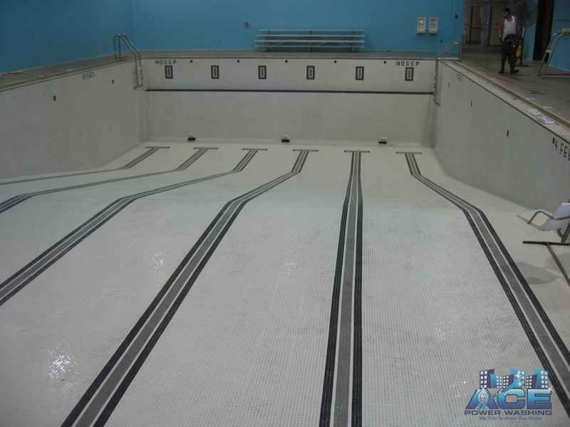 Power Washing Interior Pools using Restoration Cleaners in Essex County, NJ